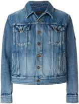 Saint Laurent Love Me Forever patch faded denim jacket