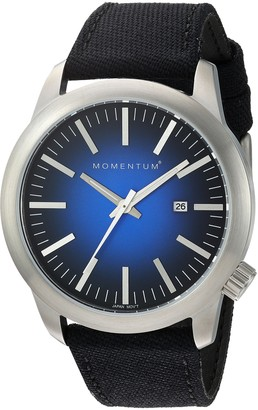 Momentum Mens Quartz Watch | Logic 42 by | Stainless Steel Watches for Men | Sports Watch with Japanese Movement & Analog Display | Water Resistant watch with Date Blue / Black Cordura