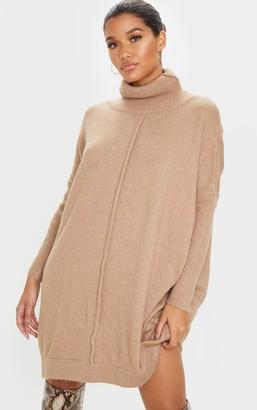 Mega Camel Seam Front Funnel Neck Oversized Jumper Dress