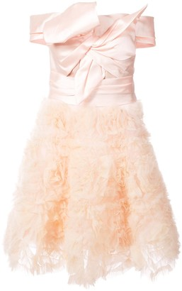 Marchesa frill-embroidered dress