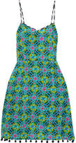 Matthew Williamson Pompom-embellished Printed Silk Crepe De Chine Dress - Jade