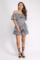 Rare Gingham Ruffle Bardot Mini Dress