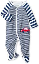Little Me Newborn/Infant Boys) Navy Stripe Embroidered Footie