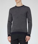 Reiss Reiss Riley - Textured Crew-neck Jumper In Blue, Mens