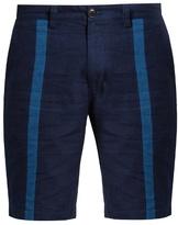 Blue Blue Japan Slim-leg striped-front cotton shorts