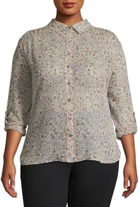 Vince Camuto Plus Floral Long-Sleeve Shirt