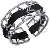 INC International Concepts Openwork Star Pavé Cuff Bracelet with Velvet Ribbon, Created for Macy's