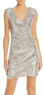 Aidan Mattox Sequined Faux-Wrap Dress