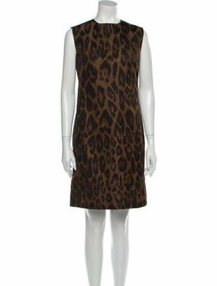 Lanvin Animal Print Mini Dress Brown