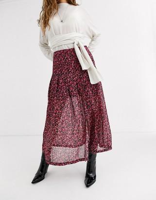 AllSaints drea cherry blossom midi skirt