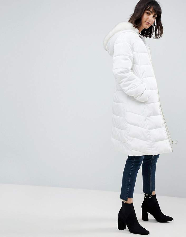 Asos Design Longline Puffer Coat with Faux Fur Trim Hood