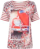 Oui Red bus print tee