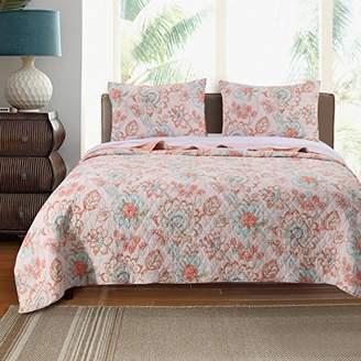 Barefoot Bungalow 3-Piece Cordelia Quilt Set, Cotton Blend, Multi-Colour, Queen