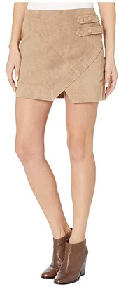 Blank NYC Real Suede A-Line Skirt with Snap Tab Detail in Macchiato