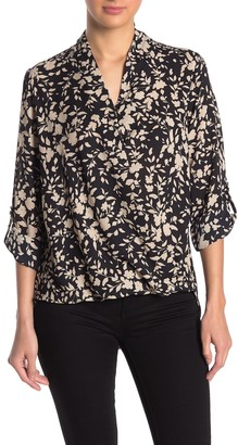 Pleione Surplice Roll Sleeve High/Low Blouse