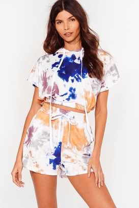 Nasty Gal Womens Friday I'm in Love Tie Dye Hoodie and Shorts Set - White - S, White