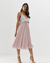 Asos DESIGN cami midi dress with pearl and embellished crop top bodice