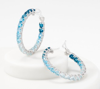 Judith Ripka Sterling Silver Ombre Gemstone Hoop Earrings, 8.60 cttw