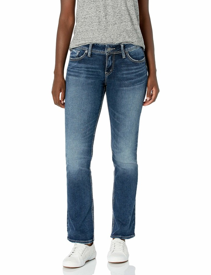 Silver Jeans Women's Elyse Relaxed Fit Mid Rise Slim Bootcut Jeans Pants