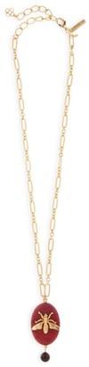 Oscar de la Renta Goldtone Oval Agate & Fly Pendant Link Necklace