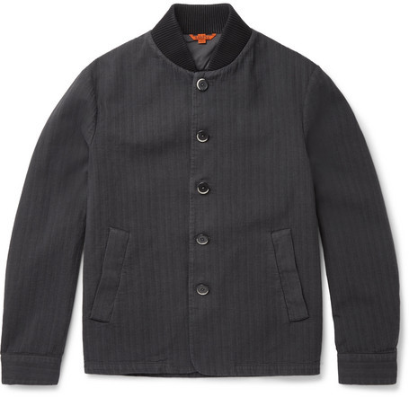 Barena Herringbone Stretch-Cotton Bomber Jacket
