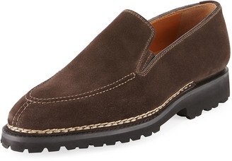 Bontoni Men's Suede Slip-On Loafer