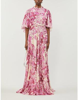 Giambattista Valli Floral-print ruffle-trimmed silk gown