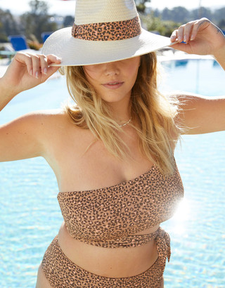 aerie Ribbed Leopard One Shoulder Wrap Bikini Top