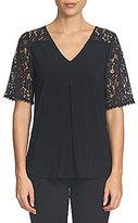 CeCe Floral Lace Sleeve Invert Pleat Top