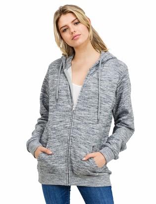 Esstive Women's Ultra Soft Fleece Oversized Casual Solid Midweight Zip-Up Hoodie Jacket