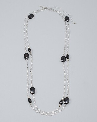 Chicos Black Agate Station Necklace