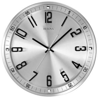 Bulova Clocks C4646 Silhouette 13 Inch Metal Analog Wall Clock, Stainless Steel