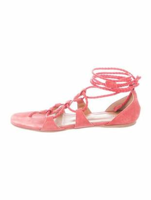 Hermes Galaxie Suede Gladiator Sandals Pink