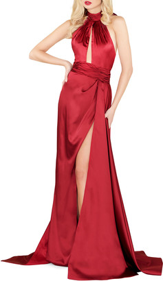 Mac Duggal 6-Week Shipping Lead Time Satin Halter Gown with Keyhole & High Slit