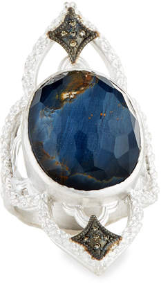 Armenta New World Blue Pietersite Open Scroll Ring with Diamonds