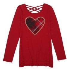 Epic Threads Big Girls Long Sleeve Plaid Heart Graphic Tee