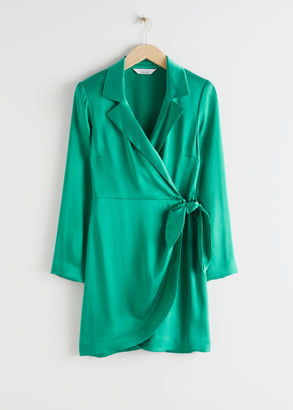 And other stories Tailored Satin Mini Wrap Dress