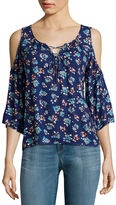 Arizona 3/4-Sleeve Cold-Shoulder Top - Juniors
