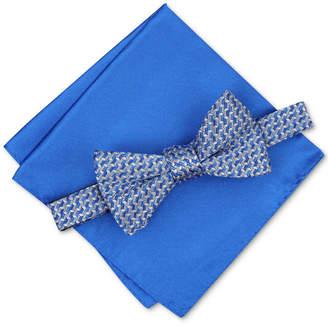Alfani Men Pre-Tied Geometric Bow Tie & Solid Pocket Square Set