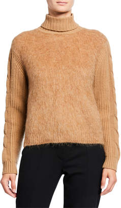 Max Mara Fuzzy Cable-Knit Turtleneck Sweater