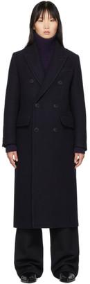 Ami Alexandre Mattiussi Navy Wool Double-Breasted Cross Peacoat
