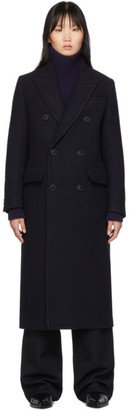 Ami Alexandre Mattiussi Navy Wool Double-Breasted Cross Peacoat