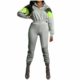 DESIBA Women Long Sleeve Split Casual Outfit Lady Sportswear Women's Colorblock Sports 2 Piece Set Tops with Zipper + Sports Pants(Gray M)