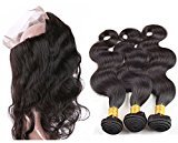 Vinsteen Best 8A Quality 100% Real Human Hair Extensions with 360 Lace Frontal Closure Natural Color Thick Ends Hair Weaves Body Wave Hair Wefts Bundles (202222+20)