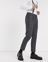 Shelby & Sons slim suit trouser with single pleat in charcoal heritage check-Black