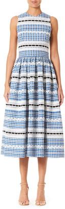 Carolina Herrera Gingham Lace-Embroidered Dress