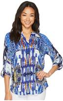 Tribal Long Sleeve Printed Blouse w/ Beaded Collar Women's Blouse