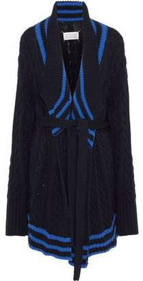 Maison Margiela Striped Cable-knit Cotton And Linen-blend Cardigan