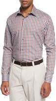 Ike Behar Chambray Check Sport Shirt, Red