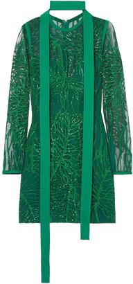 Elie Saab Embellished Tulle Mini Dress